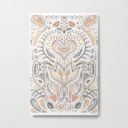 Rose Gold Folklore Pattern Metal Print