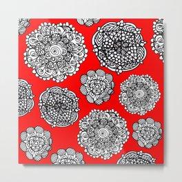 red mandala maze  Metal Print