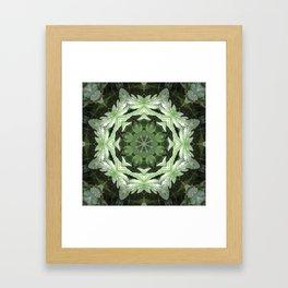 Tropical Twist - Green Leaves Kaleidoscope, Mandala Framed Art Print