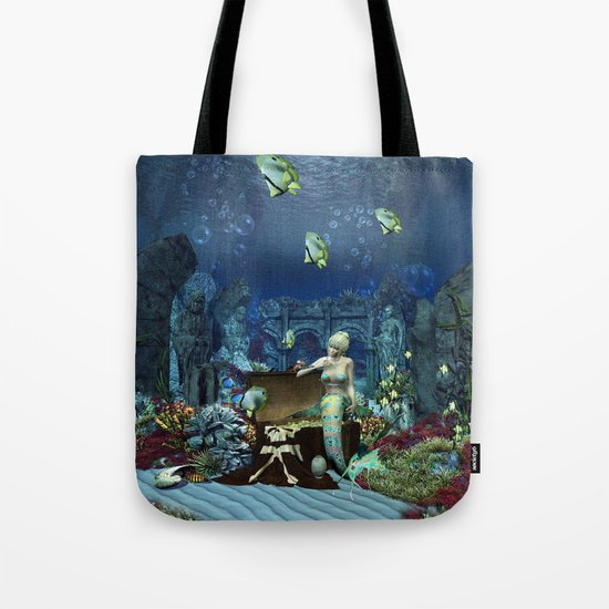 Wonderful mermaid with cute crab Tote Bag