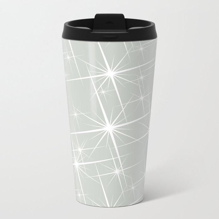 Gray Grey Glitters Sea Salt Metal Travel Mug