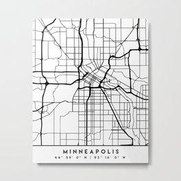 MINNEAPOLIS MINNESOTA BLACK CITY STREET MAP ART Metal Print