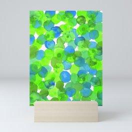 Watercolour Circles- Bright Green and Blue Mini Art Print