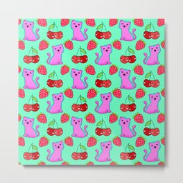 Cute funny sweet adorable little pink baby tigers, little cherries and red ripe summer strawberries cartoon fantasy light pastel green pattern design Metal Print