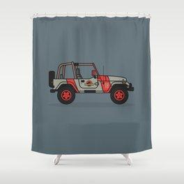 Jurassic Park Jeep Shower Curtain