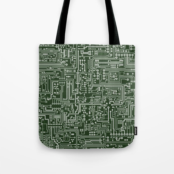 Circuit Board // Green & Silver Tote Bag