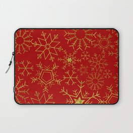 Red and gold snowflakes Laptop Sleeve