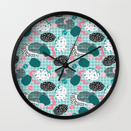 Throw Down - memphis retro neon pastel palm springs tennis club sports recreation full court athlete Wall Clock