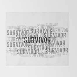 Survivor (Black Text) Throw Blanket