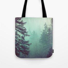 Forest Fog Fir Trees Tote Bag