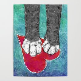 Little Grey Kitty Paws Poster