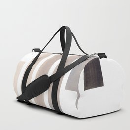 Grey Minimalist Mid Century Modern Inca Watercolor Stripes Staggered Symmetrical Pattern Duffle Bag