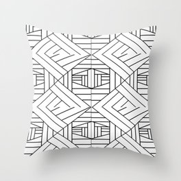 Geometricaldesignpatblkwht Throw Pillow