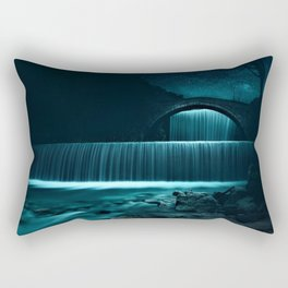 Moonlit Waterfall under Starry Skies Photographic Landscape Rectangular Pillow