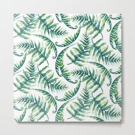Lush green fern leafs pattern Metal Print