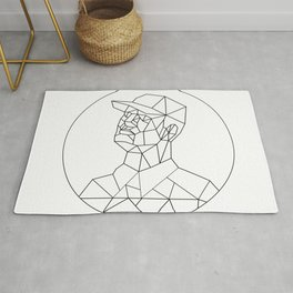 Union Worker Looking Up Low Polygon Black and White Rug