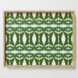 Palm Leaf Kaleidoscope (on white) #2 Serving Tray