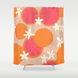 Grapefruit with Tan Background Shower Curtain