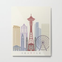 Seattle skyline poster Metal Print