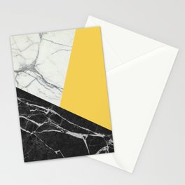 Black and White Marble with Pantone Primrose Yellow Stationery Cards