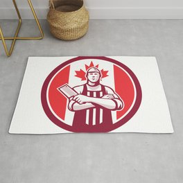 Canadian Butcher Front Canada Flag Icon Rug