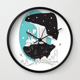 Blue Bunny Love Wall Clock