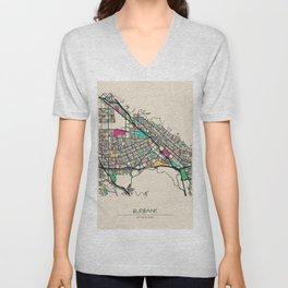 Colorful City Maps: Burbank, California Unisex V-Neck