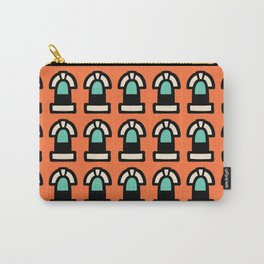 New York Windows Pattern 261 Orange and Green Carry-All Pouch