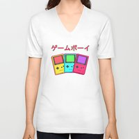 gameboy V-neck T-shirts featuring Gameboy by Chrome