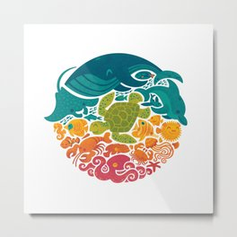 Aquatic Rainbow (white) Metal Print