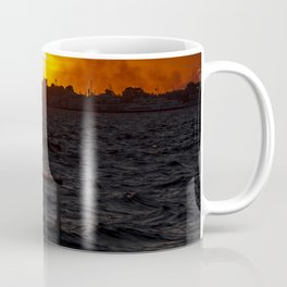 Man fishing at seaside in Izmir during sunset Coffee Mug
