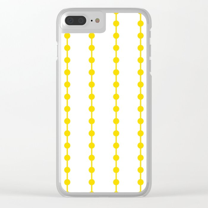 Geometric Droplets Pattern Linked - Summer Sunshine Yellow on White Clear iPhone Case