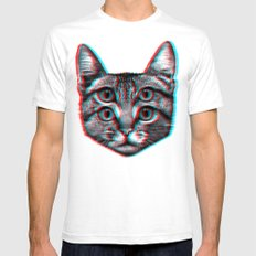 Cat 3D LARGE White Mens Fitted Tee