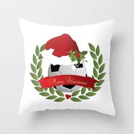 Christmas Soccer Ball Throw Pillow