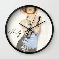 ruby Wall Clocks featuring Ruby by Rita Acapulco