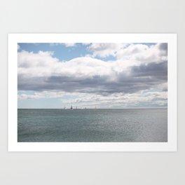 Sailboats on the Sea Art Print