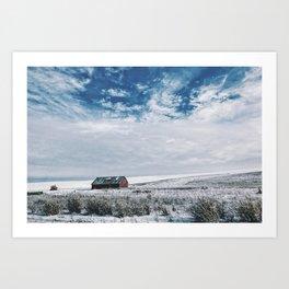 Red Barn In Winter Art Print