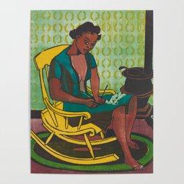 The Yellow Rocker Woodblock Art Poster