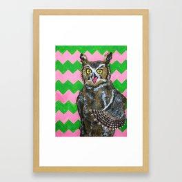 Pink and Green Chevron Owl Framed Art Print