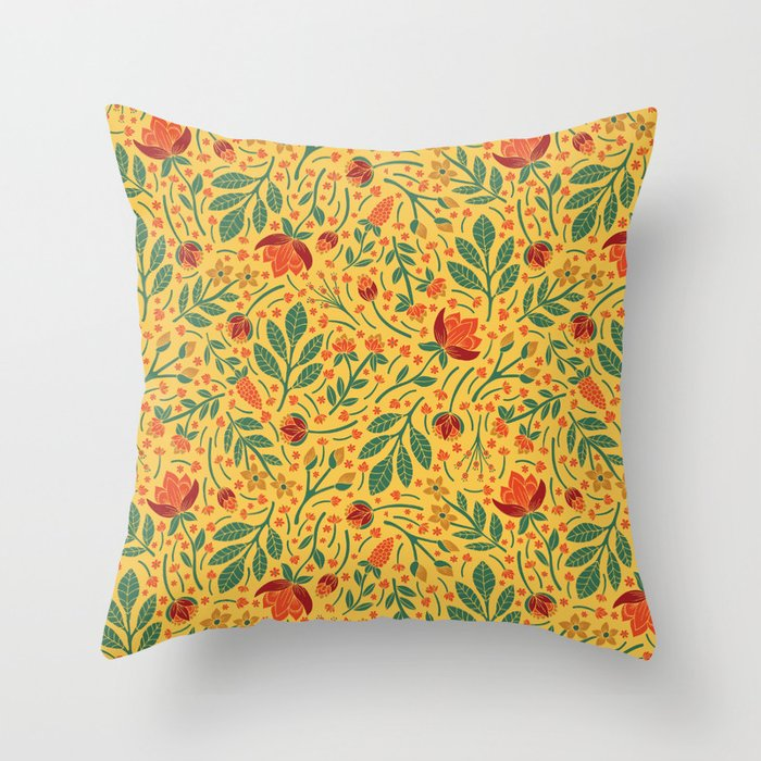 Yellow, Orange, Red, & Teal Light Floral Pattern Throw Pillow by