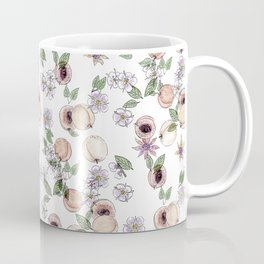 Watercolor pattern with apricots and flowers Coffee Mug