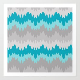 Teal Turquoise Blue Grey Gray Chevron Ombre Fade Zigzag Art Print