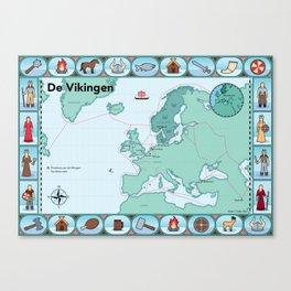 Geïllustreerde kaart van de Vikingen Canvas Print