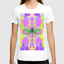 Emerald Green Dragonfly Pink Abstract T-shirt