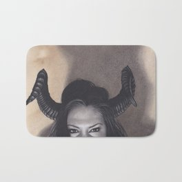 Realism Drawing of a Sexy Devilish Woman with Coffee Stained Background Bath Mat