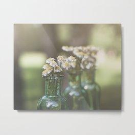 Bottled Wildflowers in the Sun Metal Print