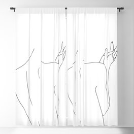 Nude figure line drawing illustration - Thelma Blackout Curtain