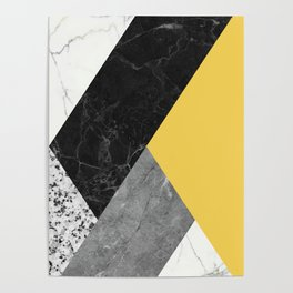 Black and White Marbles and Pantone Primrose Yellow Color Poster