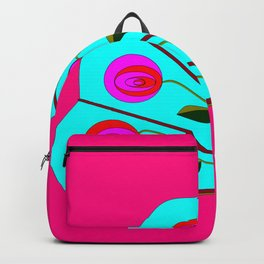 A Fan with Roses on a Fuchsia Pink Background Backpack