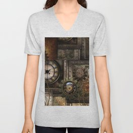 Steampunk, wonderful clockwork with gears Unisex V-Neck